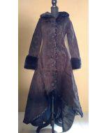 Steampunk Mantel Damen Brokat viktorianisches Muster mit Kunstfellkragen braun