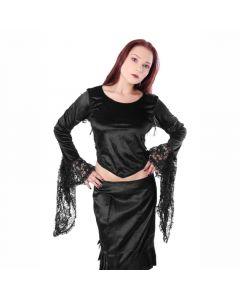 Mittelalter Gothic Bluse aus Samt mit Sptize abgesetzt schwarz Oberteil