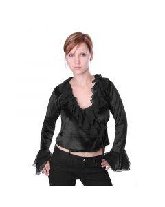 Gothic Mittelalter Bluse Samt schwarz mit Rüschen und Spitze Oberteil