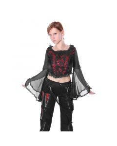 Gothic Mittelalter Oberteil schwarz mit rotem Satin und Spitze an den Ärmeln
