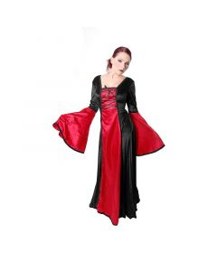 Gothic Mittelalter Samtkleid schwarz mit rot Larp Barock
