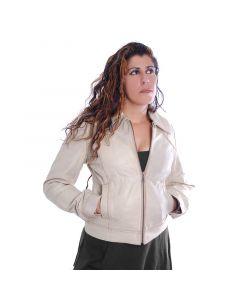 Weiße Damen Leder Jacke
