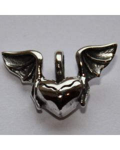 kleines Herz Fledermausflügel Sterlingsilber