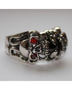 Skullring mit roten Auge echt 925 Sterling Silber