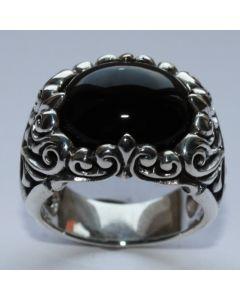 Königsring mit schwarzen Stein in echt Sterling Silber