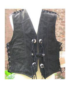 Lederweste aus nubuck mit Seiten und Schulterschnürung und 4Conc
